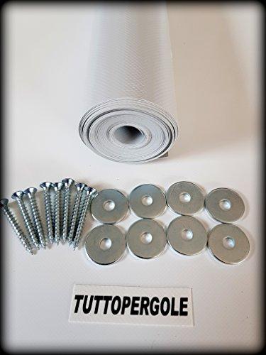 TUTTOPERGOLE Copertura con Fasce in PVC Pieno Adatte per strutture in Legno (Cm 330 X Cm 50, Grigio)