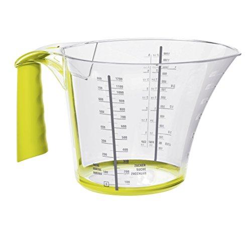 Rotho Loft Messbecher groß mit Softgriff und Skalierung, Kunststoff (BPA-frei), transparent/grün, 1,2 Liter