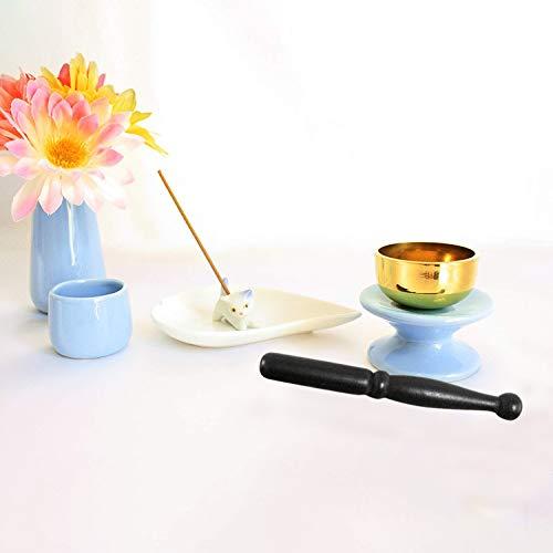 ペット仏具 6点セット ブルー おりん(こりん) ネコ 型お線香立て ハート型お香皿つき