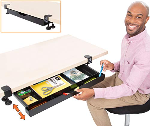 "Stand Steady Clamp-On Desk Drawer | Under Desk Storage with Damage-Free Easy Installation - No Drilling Required | Six Compartment Organizer for Pens, Pencils, Clips & More! (31.5""L x 12""D x 5.5""H)"