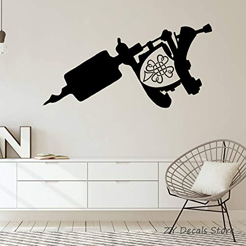 YuanMinglu Tattoo Studio Gun Machine Salon Logo Sign Etiqueta de la Pared Interior al Aire Libre Business Studio extraíble decoración de la Pared Poster Decal 57X29 CM