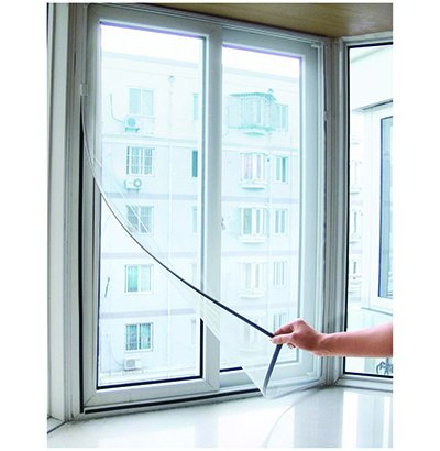 Tela Mosquiteiro 85X105cm com Tiras Aderentes para Janela / Porta