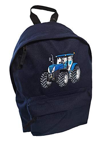 Junior Rucksack Traktor Stickerei Blauer Trecker Schulkinder Rucksäcke (dunkelblau)