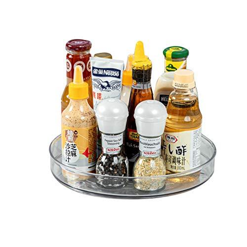 Lazy Susan Drehteller, aus BPA-freiem Kunststoff, Gewürzhalter Organizer für Küchenschrank, Durchsichtig, Φ27 cm x 4,3 cm