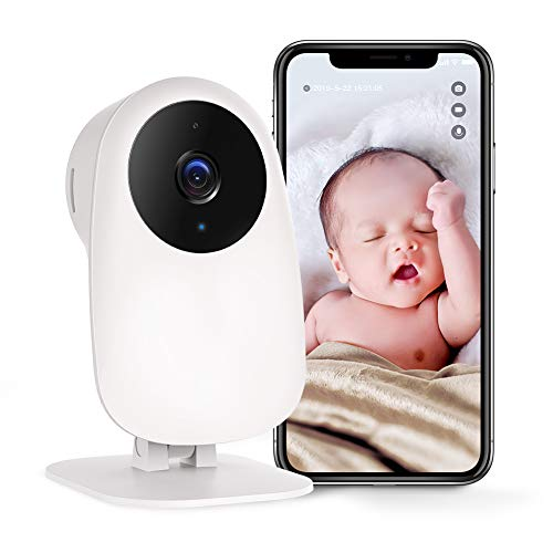 Nooie Baby Monitor Camera 1080P with Two Way Audio Night Vision Motion and Sound Detection 2.4G WiFi Camera Indoor for Baby Nanny and Elderly Monitoring, Works with Alexa Monitors