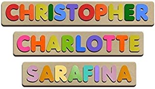 Bubble Fonts Personalized Wooden Name Puzzles Child's Name, Custom Made Puzzle From Wood Word
