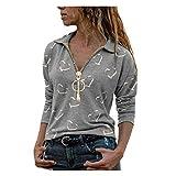 Dasongff Elegante blusa para mujer, sudadera con hombros descubiertos, camiseta de manga larga, diseño de amor, túnica, cuello en V, camiseta larga con cremallera