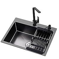 台所の流し台、準備の流し台、家庭用ステンレス鋼のシングルスロット、黒い洗面台、温水と冷水栓、石鹸ディスペンサー、排水バスケット、水が溜まることなくすばやく排水する