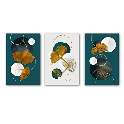 Arte de pared abstracto de lujo hojas de ginkgo lienzo pintura carteles e impresiones imágenes modernas para sala de estar decoración del hogar arte 15.7 'x23.6' (40x60cm) 3 piezas sin marco