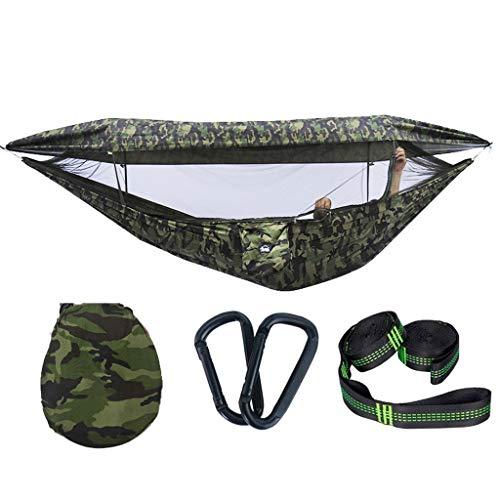 Camuflaje Solo Doble Hamaca al Aire Libre Swing con Cubierta Neta Camping portátil Hammock Travel Silling silling 114.1x57 Pulgadas