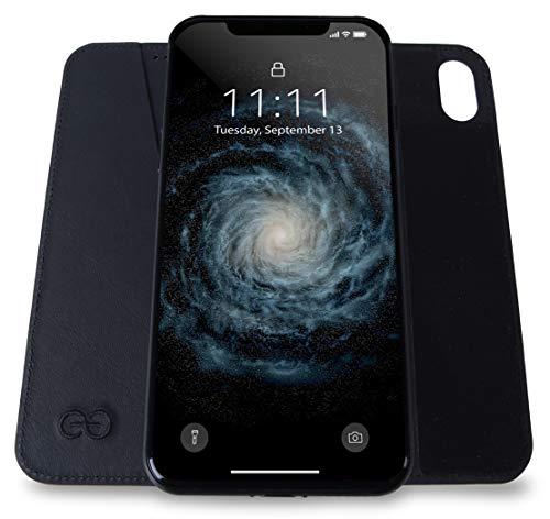 Dreem Bond Stick-On Wallet-Case Micro-Suction Folio for iPhone 8 & SE(2020), Ultra Slim Detachable Design, Swanky Soft Vegan Leather, RFID Protection, Kick-Stand, Premium GiftBox - Black