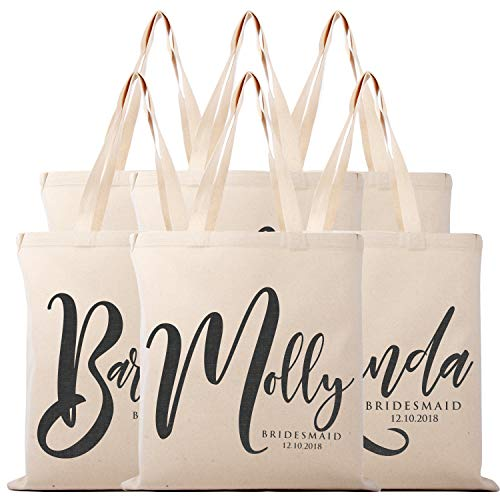 Personalized Tote Bag Natural Cotton Wedding Bridal Party | DSG#7 (Set of 6)