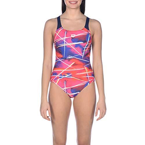 ARENA Damen Sport Badeanzug Light Beams, Navy-Multi, 44