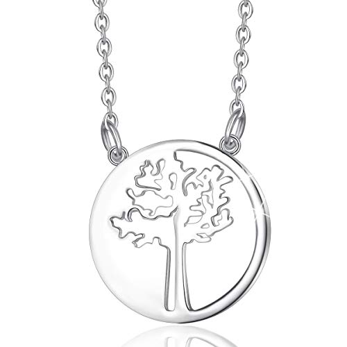 Lebensbaum Kette, EUDORA Harmony Ball 925 Sterling Silber Baum des Lebens Yinyang Kettenbaum Halskette für Frauen Mädchen Schmuck Weihnachtsgeschenk 45,7 cm Kette