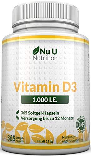 Preisvergleich Produktbild Vitamin D3 1.000 I.E. hochdosiert / für Knochen,  Zähne & Immunsystem / Jahresversorgung / 100% Geld-zurück-Garantie / 365 Softgel-Kapseln / Nahrungsergänzungsmittel von Nu U Nutrition