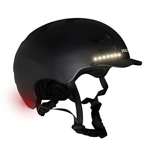 HUDORA Jugend & Erwachsene Skaterhelm, Gr. M | LED Licht Helm | Fahrradhelm mit Auto-Blinklicht & passgenauer Größenanpassung, schwarz, M (55-58 cm)