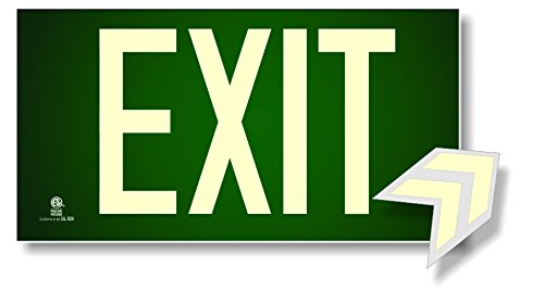 Photoluminescent Exit Sign Green Approved