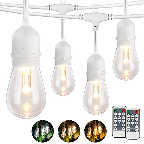 WENFENG 3 Color Selectable Waterproof Outdoor String Lights, 48 Feet Connectable Remote Control Patio Hanging Lights with 15 Edison Shatterproof S14 Bulbs,Warm White/Nature White/Daylight White