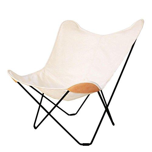 Canvas Mariposa Butterfly Chair Outdoorsessel, weiß Hemp White 43 Gestell schwarz