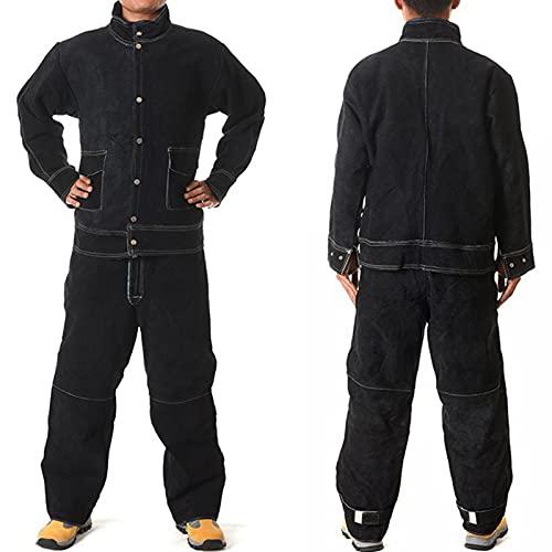 TXYJ Traje de soldadura de cuero, bata de caldera, traje eléctrico seguro, cuello alto, mangas de protección para soldador, electricista, trabajador, marrón, XXL