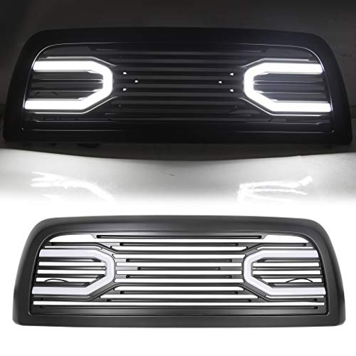 Front Hood Bumper Grille Grill W/Replacement Shell Led Lights Fits 2010-2018 Dodge Ram 2500 3500 4500 Big Horn Horizontal Style Bumper Grill ABS