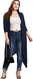 TOOGOO Women Autumn Casual Solid Color Open Front Long Sleeve Asymmetric Long Cardigan Coat Ladies Elegant Knit Cardigan Tops Plus Size Navy L