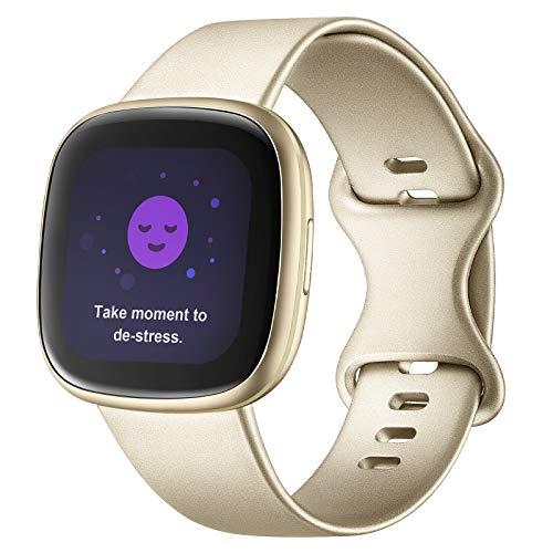 Adepoy Compatible con correa Fitbit Versa 3/correa Fitbit Sense, correas de repuesto de silicona suave para Fitbit Versa 3 y Fitbit Sense para mujeres y hombres (champán, grande)