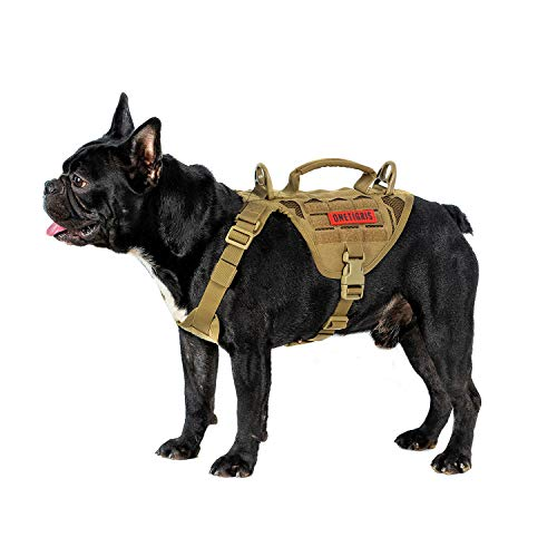 OneTigris Mini Mayhem Laser-Cut K9 Harness MOLLE Vest + Grab Handle Leash Clips for Small Medium Dog (Coyote Brown, Extra Small)