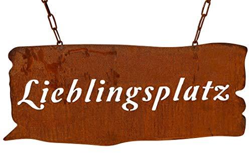 Bornhöft Schild Spruchtafel rostiges Gartenschild Edelrost Rost zum hängen Gartendeko (Lieblingsplatz)