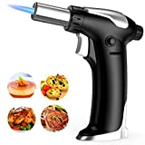 Blow Torch, Kitchen Cooking Torch with Safety Lock, Refillable Butane Gas Adjustable Flame Torch Lighter for, Brulee, Pastries, Desserts, Camping, Barbecue, Soldering(Butane Gas Not Included)