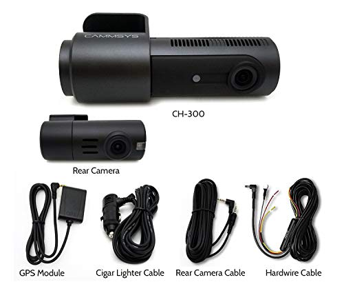BlackSys CH-300 2 Channel Dash cam WiFi Front 2560 x 1440p Quad HD/Rear 1920 x 1080p Full HD, Night Vision, GPS, 32GB SD Card, Hardwiring Kit Included for Parking Mode