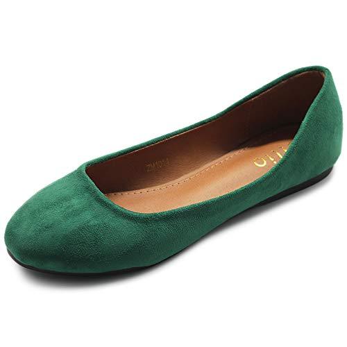 Ollio Womens Shoe Ballet Light Faux Suede Low Heels Flat ZM1014(8.5 B(M) US, Green)