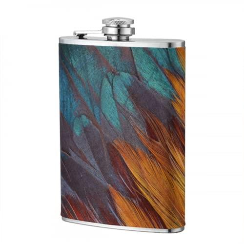 Frasco de 8 oz para mujeres Hermosas petacas de plumas de faisán para hombres, frascos para hombres, mujeres, frascos personalizados para hombres, para viajes, senderismo, acampada