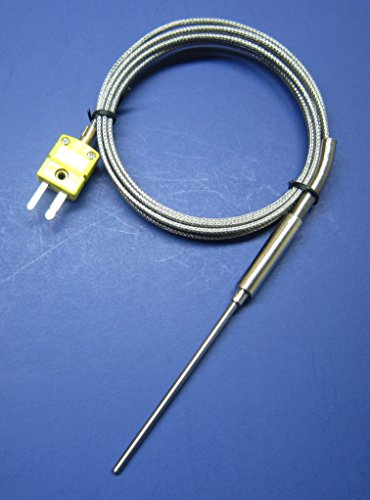 """3"""" K-Type Thermocouple Sensor with 3 inch High Temperature Stainless Steel Insertion Probe, 932 F or 500 C, with Stainless Steel Braided Cable HT-02"""