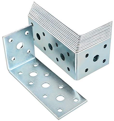 KOTARBAU® Winkelverbinder 100 x 50 x 40 Stahl Bauwinkel Lochplattenwinkel Möbelverbinder Verzinkt Schwerlast Holzverbinder Montagewinkel Stuhlwinkel (25)