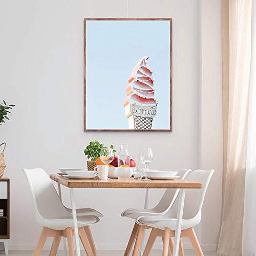 Retro ijs logo poster print verticale muur canvas schilderij foto moderne decoratie retro keuken decoratie 50x70cm-frameloze