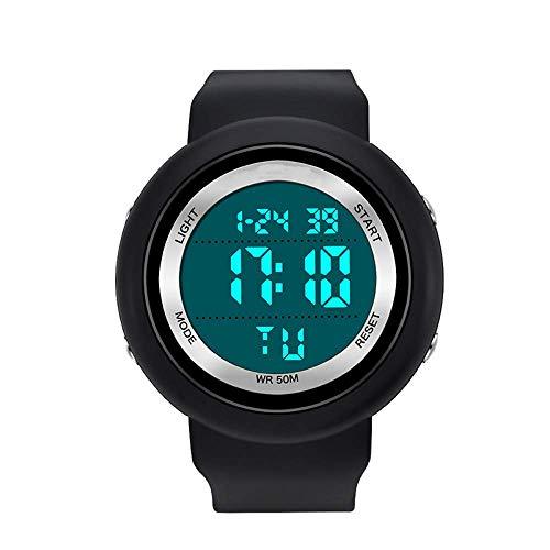 AYDQC Solo la visualización electrónica del Reloj de los Hombres y de Deportes de Las Mujeres de múltiples Funciones a Prueba de Golpes Impermeable Reloj Estudiante fengong (Color : Black and Silver)