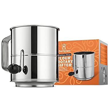 ChefGiant Flour Sifter 8 Cup Baking Tool Rotary Hand Crank Style with 16 Fine Mesh Screen Stainless Steel Corrosion Resistant Sugar Sifter - Decorate Cakes, Pies, Pastries, Cupcake - Great Gift Idea