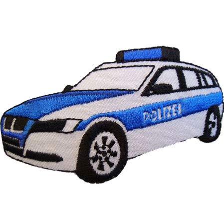 alles-meine.de GmbH Bügelbild - Polizei - 7,9 cm * 4,5 cm - Polizeiwagen Auto - Wagen Aufnäher - Applikation Patch Aufbügler - Polizeiauto Polizist zum Aufbügeln