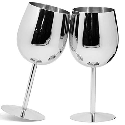 Juego de 2 copas de vino de acero inoxidable de cobre, copas...
