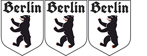 Etaia - 3,8x5 cm - 3 x Mini Premium Auto Aufkleber Berlin Bär Wappen mit altdeutscher Schrift...