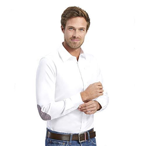 ALLBOW Camisa Blanca para Hombre Formal Regular Fit con Parches en los Codos, 100% algodón, M 39/40