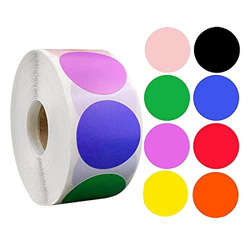 oshhni Etiquetas adhesivas redondas de puntos de 1'Etiqueta de codificación de colores 500 piezas por rollo