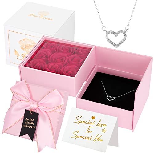 Joyhoop Rosa Eterna, Rosas Caja de Regalos y Collar de Corazón, Regalos Originales para Mujer, San Valentin Regalos Mujer, Regalos Cumpleaños Mujer, Regalos Aniversario Mujer.