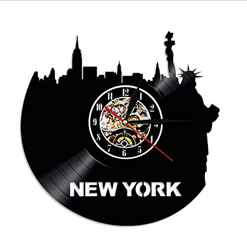 Djkaa 1 stuk New York Skyline vinyl wandklok LP record tijd NY stad Bezoek Vintage Wall Art klok met verlichting (12 inch)