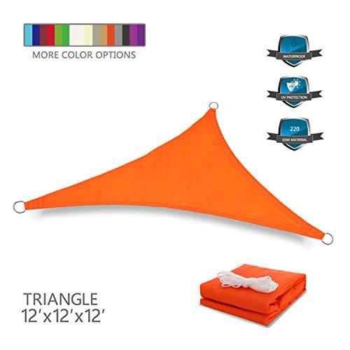 Tuosite Terylene Waterproof Sun Shade Sail UV Blocker Sunshade Patio Equilateral Triangle Knitted 220 GSM Block Fabric Pergola Carport Awning 12' x 12' x 12' in Color Orange