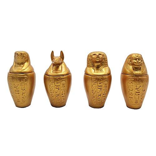 Juego de 4 Vasos canopos Dorados; Amset, Hapi, Duamutef y Kebehsenuf, Son...