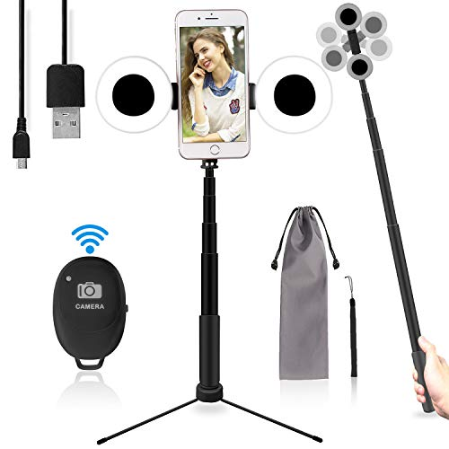 iEGrow LED Anneau Mini Selfie Ring Light USB Anneau de Lumire Avec Trépied et Perche Selfie Bluetooth Pour Telephone Selfies YouTube Live Stream