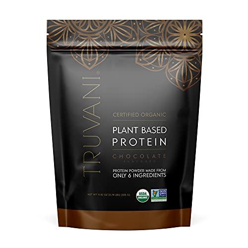 TRUVANI - Plant Based Protein Powder - USDA Certified Organic Protein Powder, Vegan, Non-GMO, Gluten Free Protein Powder - Chocolate (10 Serving (1 Pack))