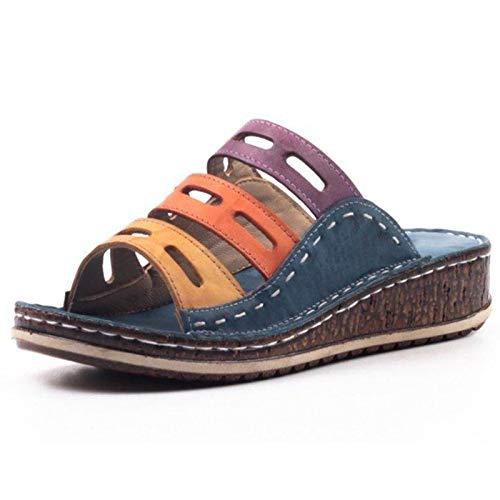 ESACLM Sandalias de Deslizamiento ortopédicas para Mujer Señoras Verano Playa Corrector juanetes ortopédico Resbalón en cuña Zapatos Antideslizantes Casuales,Azul,36 🔥